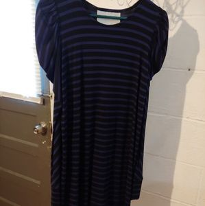 Thread social black with purple stripes dress